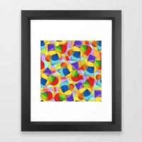 Candy Rainbow Geometric Framed Art Print