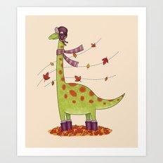 Dinosaur in Boots Art Print