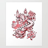 Small City - Red Art Print