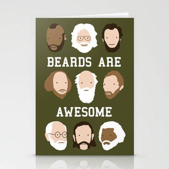 Beards Are Awesome Stationery Card