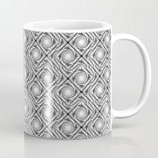 Black and White Broken Diamond Swirl Pattern Mug