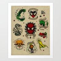 Spidey Tattoo Flash Art Print