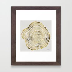 Gold Tree Rings Framed Art Print