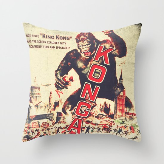 Konga - Retro Movie Throw Pillow by Fernando Vieira Society6