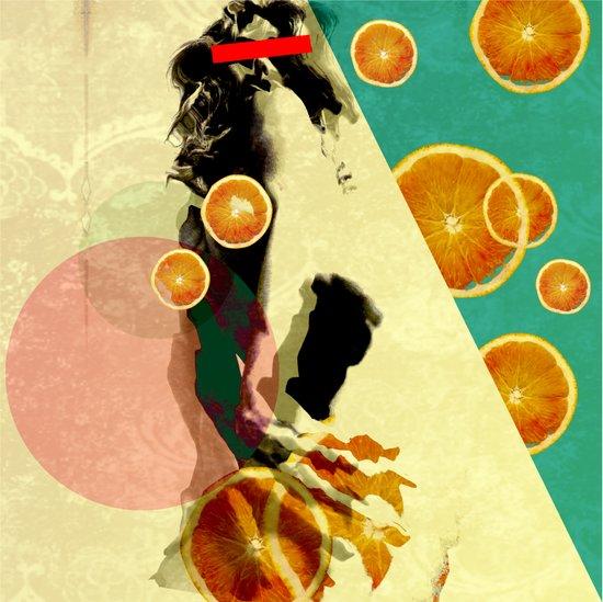 NAKED ORANGE GIRL Art Print