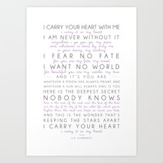 i carry your heart poem by e.e. cummings Art Print