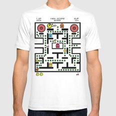 NeW PaCmAN Mens Fitted Tee SMALL White