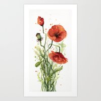 Red Poppies Watercolor Flower Floral Art Art Print