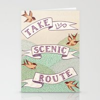 Take the Scenic Route print Stationery Cards