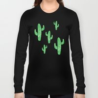 Linocut Cacti Green Long Sleeve T-shirt