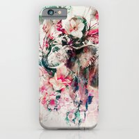 iPhone Cases featuring Watercolor Elephant and Flowers by RIZA PEKER