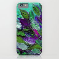 BLOOMING BEAUTIFUL 1 - Floral Painting Mint Green Seafoam Purple White Leaves Petals Summer Flowers iPhone 6 Slim Case