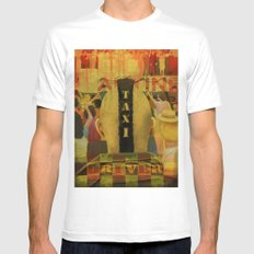 Taxi Driver White Mens Fitted Tee SMALL