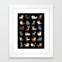 CATS on black Framed Art Print