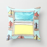 boats on the wall Throw Pillow