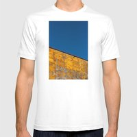 Yellow-blue Mens Fitted Tee White SMALL