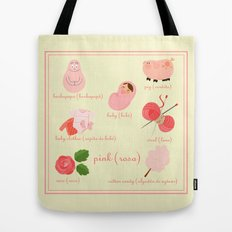 Colors: pink (Los colores: rosa) Tote Bag