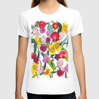 Tulips & Daffodils  Womens Fitted Tee White SMALL