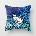 Peaceful Journey - Vibrant white dove by Labor Of Love artist Sharon Cummings. Throw Pillow