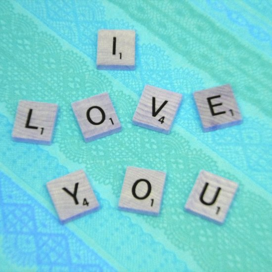Darling I Love You In Teal Art Print