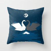 Origami Lake Throw Pillow