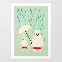 Under your umbrella Art Print