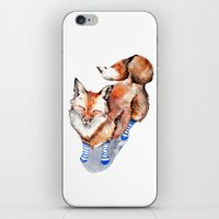 Smiling Red Fox in Blue Socks iPhone & iPod Skin