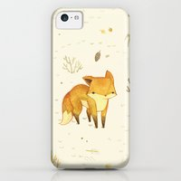 iPhone 5c Cases featuring Lonely Winter Fox by Teagan White