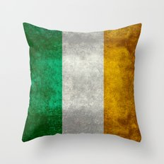 National flag of the Republic of Ireland - Vintage Version Throw Pillow
