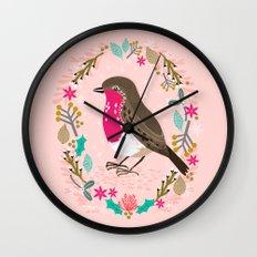 European Robin by Andrea Lauren  Wall Clock