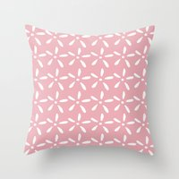 White flowers on pink Throw Pillow