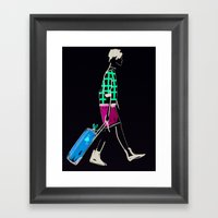 stylish girl walking Framed Art Print
