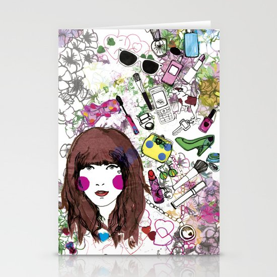 Floral Girl Stationery Card