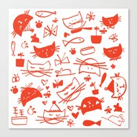 Cats In Red Canvas Print