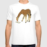 Reading Giraffe Mens Fitted Tee White SMALL