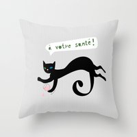 Party Animals - French C… Throw Pillow