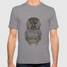 cute owl Mens Fitted Tee Athletic Grey SMALL