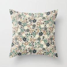 Flourishing Florals (Light-Green) Throw Pillow