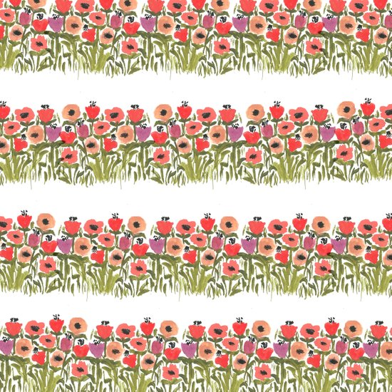 Flower stripe garden Art Print