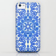 Cobalt Blue & China White Folk Art Pattern iPhone 5c Slim Case
