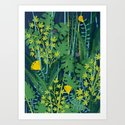 Wild Green Foliage Art Print