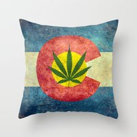 Retro Colorado State flag with the leaf - Marijuana leaf that is! Throw Pillow