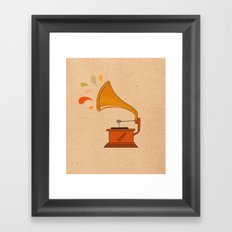Vintage grammophone with music splashes on brown  Framed Art Print