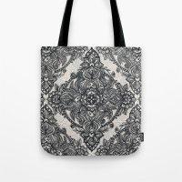 Charcoal Lace Pencil Doodle Tote Bag