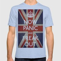 NOW PANIC AND FREAK OUT Mens Fitted Tee Athletic Blue SMALL