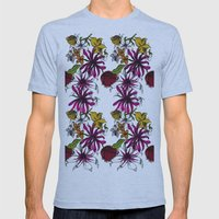 Sketchbook Floral Mens Fitted Tee Athletic Blue SMALL