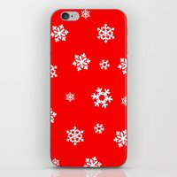 Snowflakes (White on Red) iPhone & iPod Skin