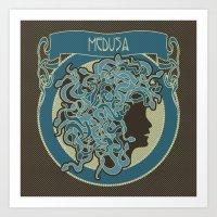 Medusa Silhouette (dark) Art Print