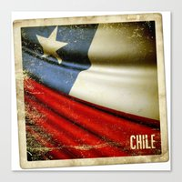 Chile Grunge Sticker Fla… Canvas Print