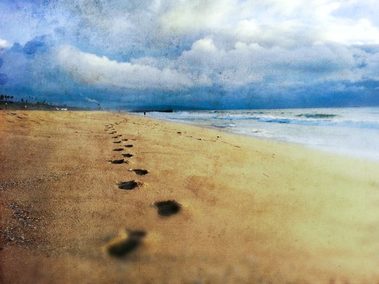 Footprints in the Sand (California Beach) Canvas Print